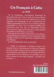 Un Francais A Cuba En 1842 - 4ème de couverture - Format classique