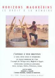 REVUE HORIZONS MAGHREBINS N.53 ; l'Afrique à voix multiples ; les enjeux mondiaux de l'eau - Intérieur - Format classique