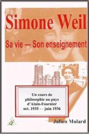 Simone Weil ; sa vie, son enseignement - Couverture - Format classique
