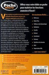 Micro excel 2007 ; fonctions avancées - 4ème de couverture - Format classique
