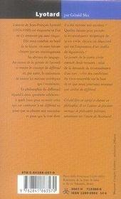 Lyotard ; la partie civile - 4ème de couverture - Format classique