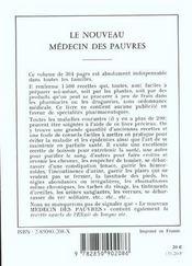 Le nouveau médecin des pauvres ; 1500 recettes pratiques - 4ème de couverture - Format classique