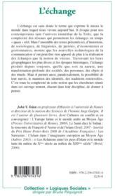 L'échange ; journées de la maison des sciences de l'homme Ange-Guépin - 4ème de couverture - Format classique
