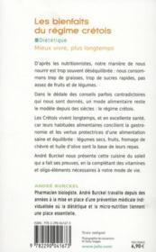 Les bienfaits du régime crétois - 4ème de couverture - Format classique