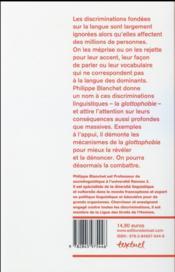 Discriminations : combattre la glottophobie - 4ème de couverture - Format classique