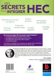 Mes secrets pour intégrer HEC ; comment j'y suis arrivé ! (3e édition) - 4ème de couverture - Format classique