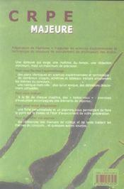 Sciences Experimentales ; Crpe Majeure - 4ème de couverture - Format classique