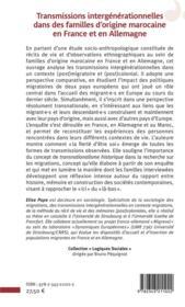 Transmissions intergénérationnelles dans des familles d'origine marocaine en France et en Allemagne ; la fierté d'être soi - 4ème de couverture - Format classique