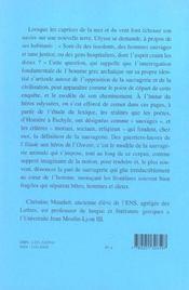 Sauvagerie dans la poesie grecque d'homere a eschyle - 4ème de couverture - Format classique