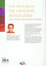 Cas Gestion Bac Techno Terminale 1 Euros - 4ème de couverture - Format classique