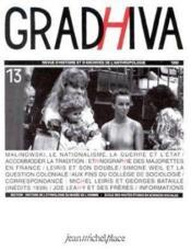 Revue Gradhiva N.13 - Couverture - Format classique