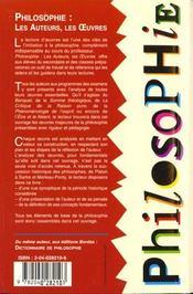 Philosophie ; Les Auteurs Les Oeuvres - 4ème de couverture - Format classique