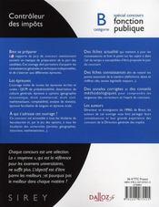 Concours de la fonction publique ; contrôleur des impôts ; catégorie B (2e édition) - 4ème de couverture - Format classique