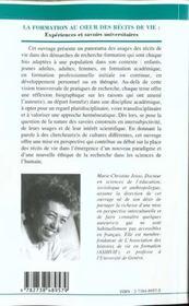 La Formation Au Coeur Des Recits De Vie ; Experiences Et Savoirs Universitaires - 4ème de couverture - Format classique