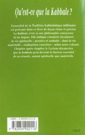 Qu'Est-Ce Que La Kabbale ? - 4ème de couverture - Format classique