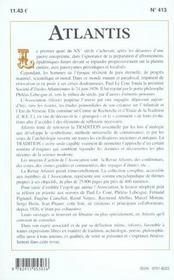 Revue Atlantis N.413 ; Secrètes Beautés De Nos Cités ; Essai Sur Le Nom Divin ; Les Route De Ions - 4ème de couverture - Format classique