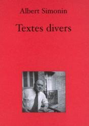 Textes divers - Couverture - Format classique