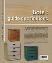 Bois : guide des finitions - 4ème de couverture - Format classique