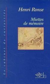 Miettes de memoire - Couverture - Format classique