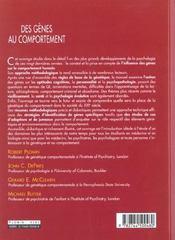 Genes Au Comportement (Des) - 4ème de couverture - Format classique