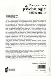 Perspectives de psychologie différentielle - 4ème de couverture - Format classique