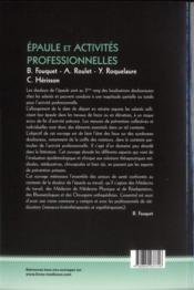 Epaule Et Activites Professionnelles - 4ème de couverture - Format classique