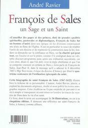 Francois de sales un sage et un saint - 4ème de couverture - Format classique