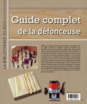 Guide complet de la défonceuse - 4ème de couverture - Format classique