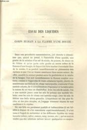 Essai Des Liquides Du Corps Humaim A La Flamme D'Une Bougie - Couverture - Format classique
