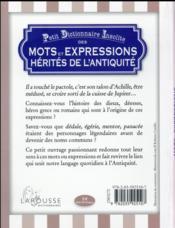 Petit dictionnaire insolite des mots et et expressions hérités de l'Antiquité - 4ème de couverture - Format classique