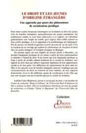 Le droit et les jeunes d'origine étrangère ; une approche par genre des phénomènes de socialisation juridique - 4ème de couverture - Format classique