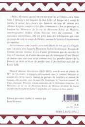 Memoires De La Vie De Henriette-Sylvie De Moliere - 4ème de couverture - Format classique