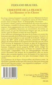 L'Identite De La France T2 Les Hommes Et Les Choses (1ere Partie) - 4ème de couverture - Format classique