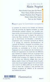 Au-dela de l'emploi - transformations du travail et devenir du droit du travail en europe - 4ème de couverture - Format classique