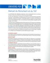 Manuel du Rorschach et duTAT ; interprétation psychanalytique - 4ème de couverture - Format classique