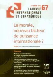 La morale, nouveau facteur de puissance internationale ? - Intérieur - Format classique