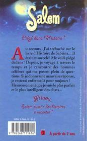 Piege Dans L Histoire ; Salem T.3 - 4ème de couverture - Format classique