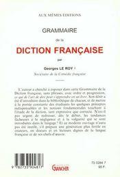 Traité pratique de la diction française - 4ème de couverture - Format classique