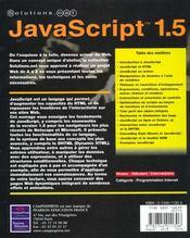 Solutions.Net Javascript 1.5 - 4ème de couverture - Format classique