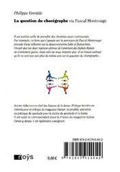 La question du chorégraphe via Pascal Montrouge - 4ème de couverture - Format classique