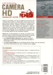 Les essais caméra hd ; cameras 2/3 tri ccd - 4ème de couverture - Format classique