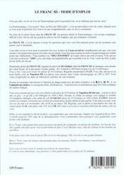 Franc Iii - 4ème de couverture - Format classique