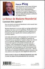 Le retour de madame Néandertal ; comment être sapiens ? - 4ème de couverture - Format classique