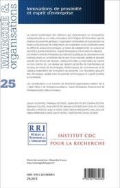 MARCHE ET ORGANISATIONS T.25 ; innovations de proximité et esprit d'entreprise - 4ème de couverture - Format classique