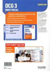DCG 3 ; droit social ; corrigés (édition 2020/2021) - 4ème de couverture - Format classique