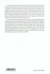 Proprietes Thermodynamiques De La Matiere Thermochimie Cours Et Exercices Corriges - 4ème de couverture - Format classique