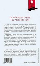 Le Regionalisme En Asie Du Sud ; L'Experience De La Saarc, 1985-1997 - 4ème de couverture - Format classique