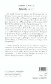 Artaud, La Vie - 4ème de couverture - Format classique