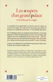 Les soupers d'un grand palace et les vins qu'il a reçus - 4ème de couverture - Format classique