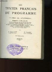 Les Textes Francais Du Programme Classe De Quatrieme - Couverture - Format classique